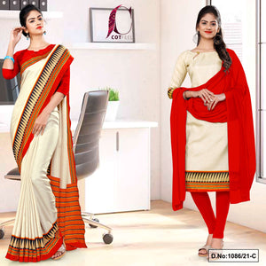 Cream Red Plain Gala Border Polycotton Cotfeel Saree Chudi Combo for Factory Uniform Sarees 1086