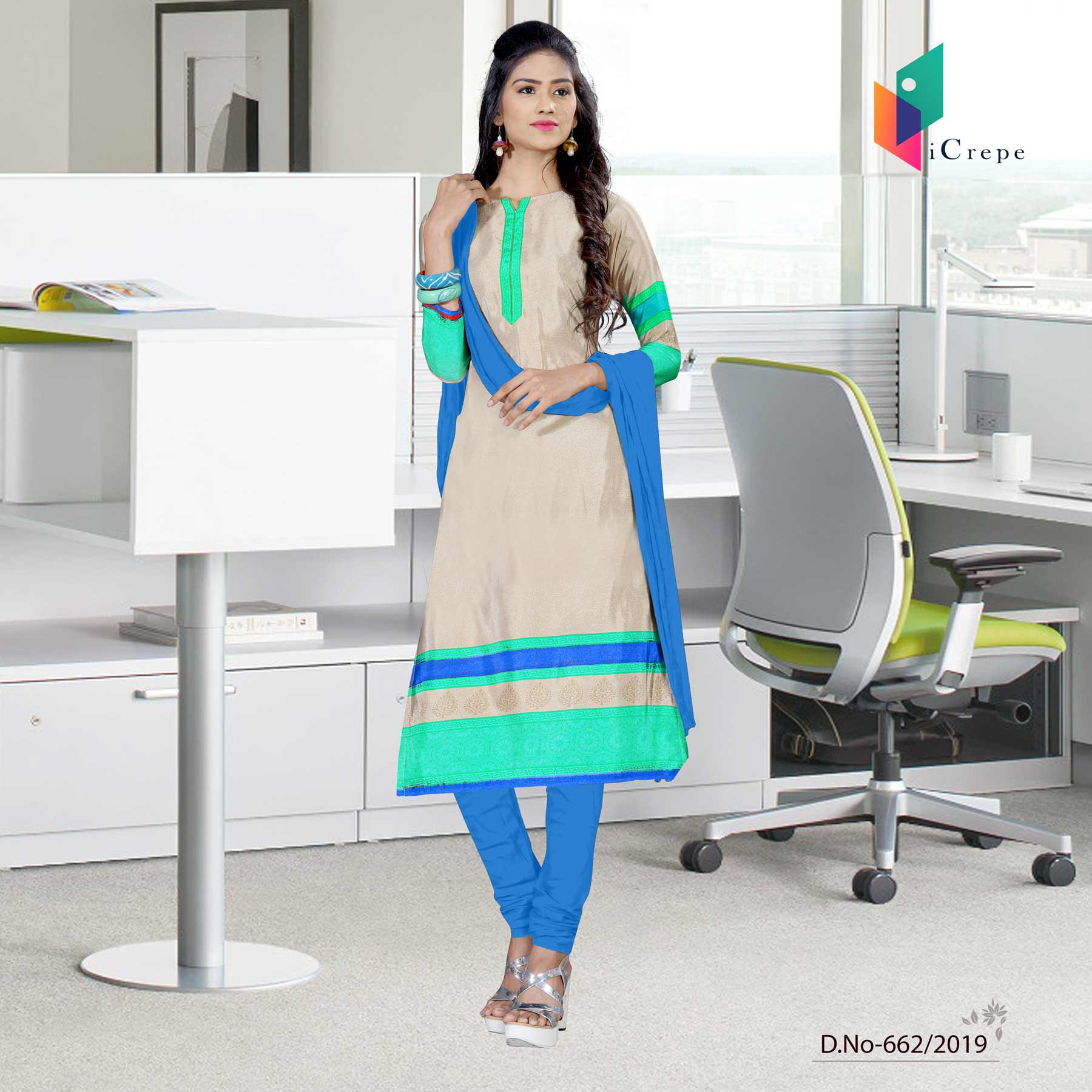 Off white and blue italian crepe silk institute uniform salwar kameez