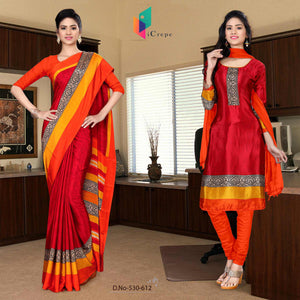 Maroon and orange italian crepe silk school uniform saree salwar combo