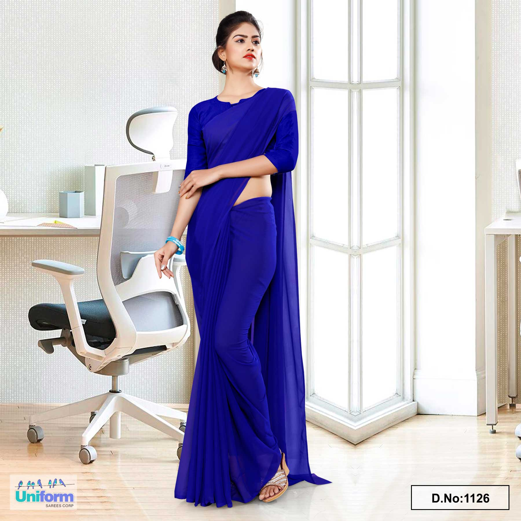 Dark Blue Soft Georgette Plain Uniform Sarees For Cleaning  Staff