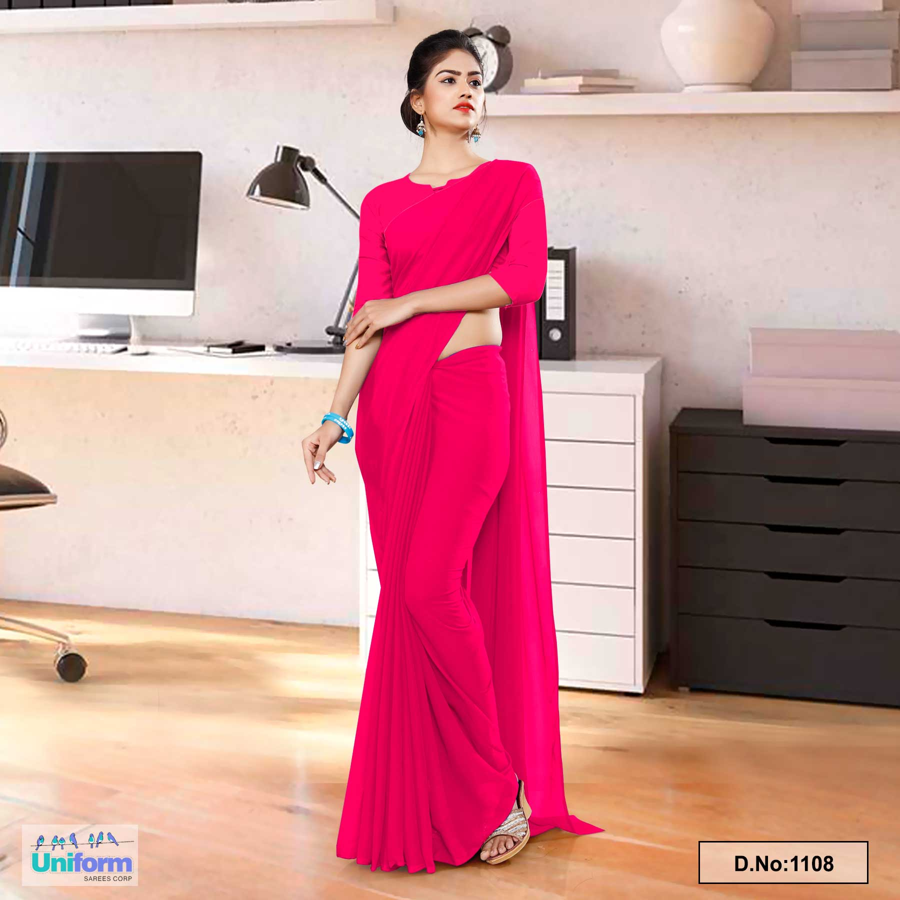 Dark Pink Soft Georgette Plain Uniform Sarees For Hospital Staff