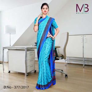 Blue with dark blue border Mulberry silk uniform saree