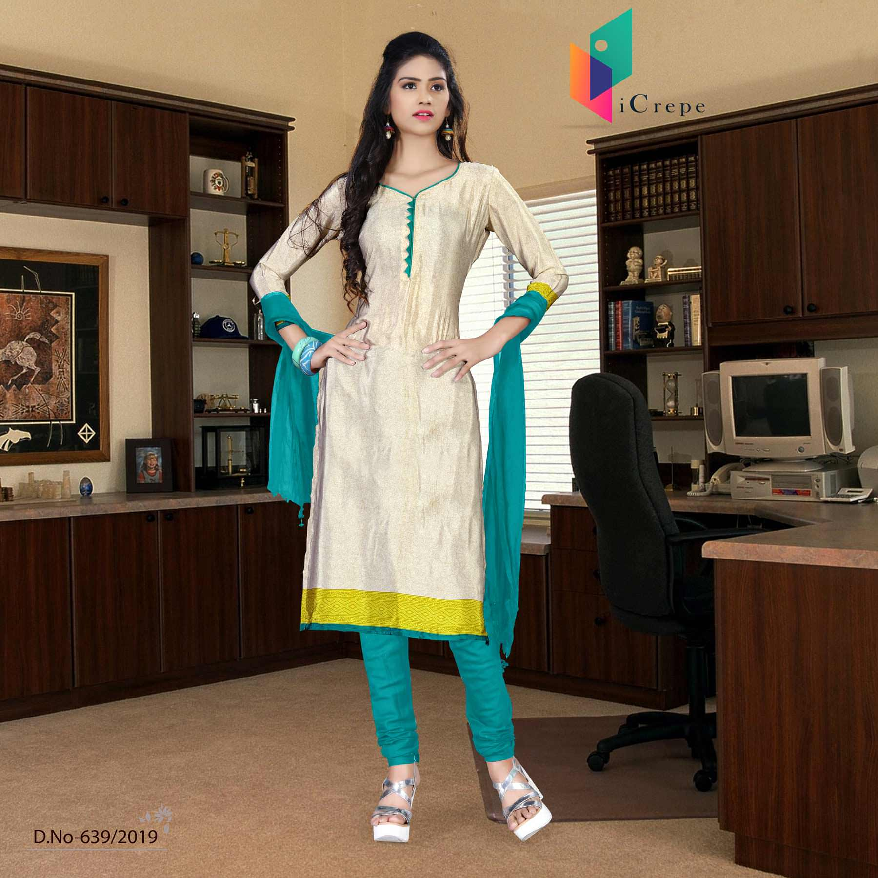 Off white and green italian crepe silk college uniform salwar kameez