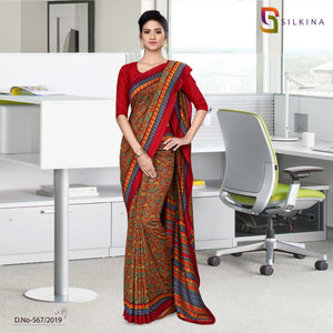 Off white with maroon border silk georgette school uniform sarees