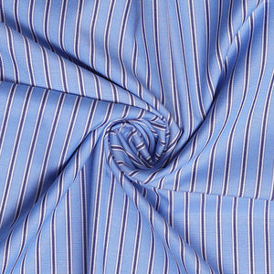 Men's Cotton Plain Unstitched  Shirt Fabric (Blue and Grey Liney, Free Size)