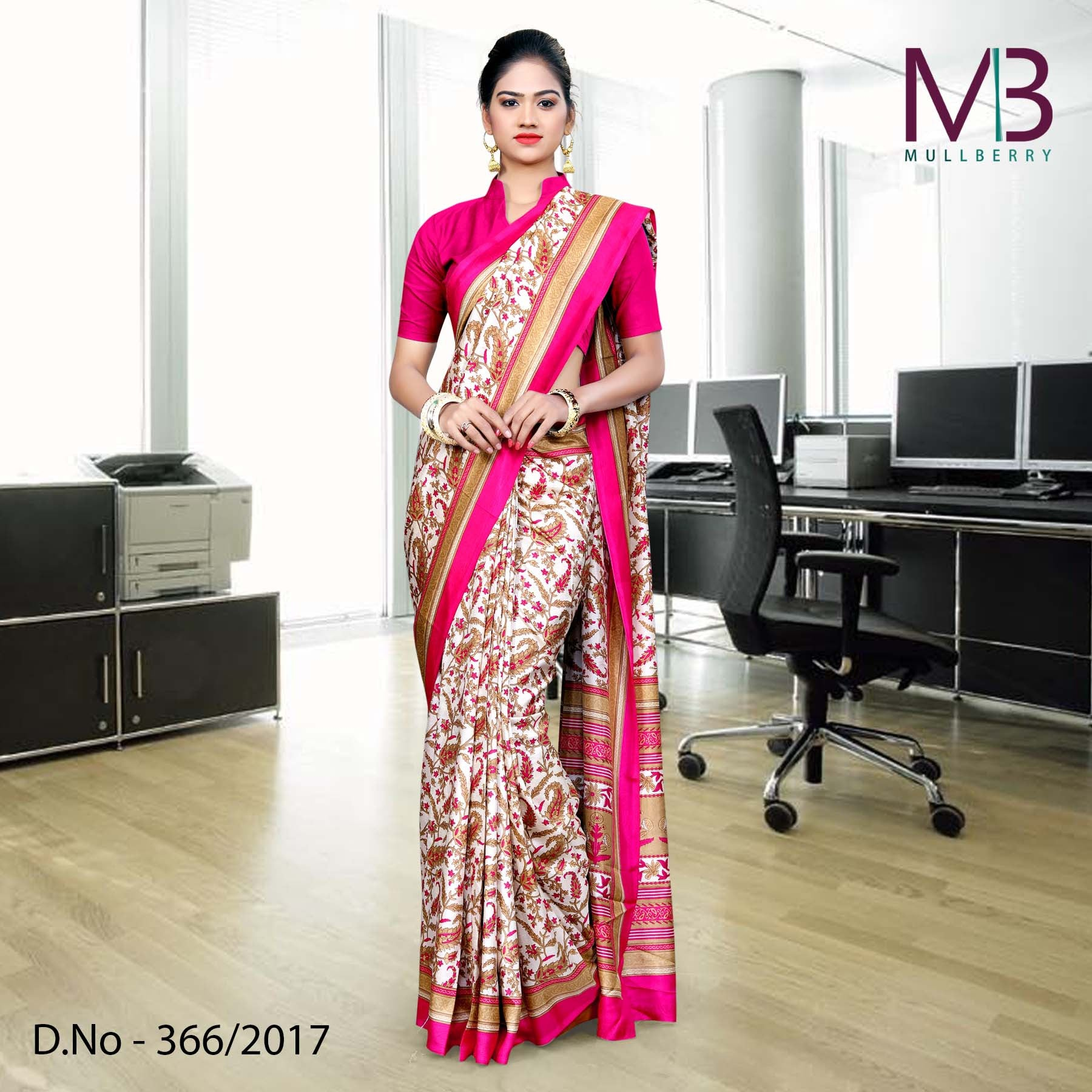 Cream with pink border Mulberry silk uniform saree