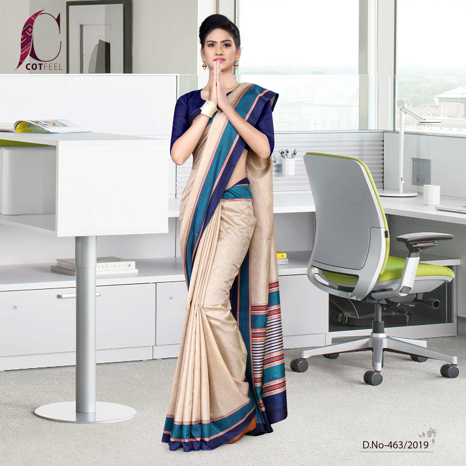 Beige and navy blue tripura cotton corporate uniform saree