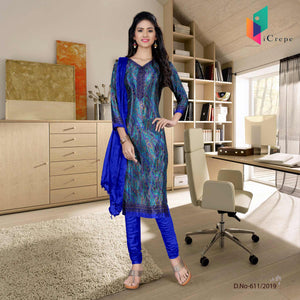 an image of turquoise  and blue italian crepe silk college uniform salwar kameez  with product logo and sku number