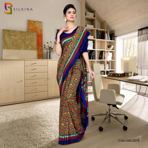 Off white with dark blue border silk georgette teacher uniform sarees