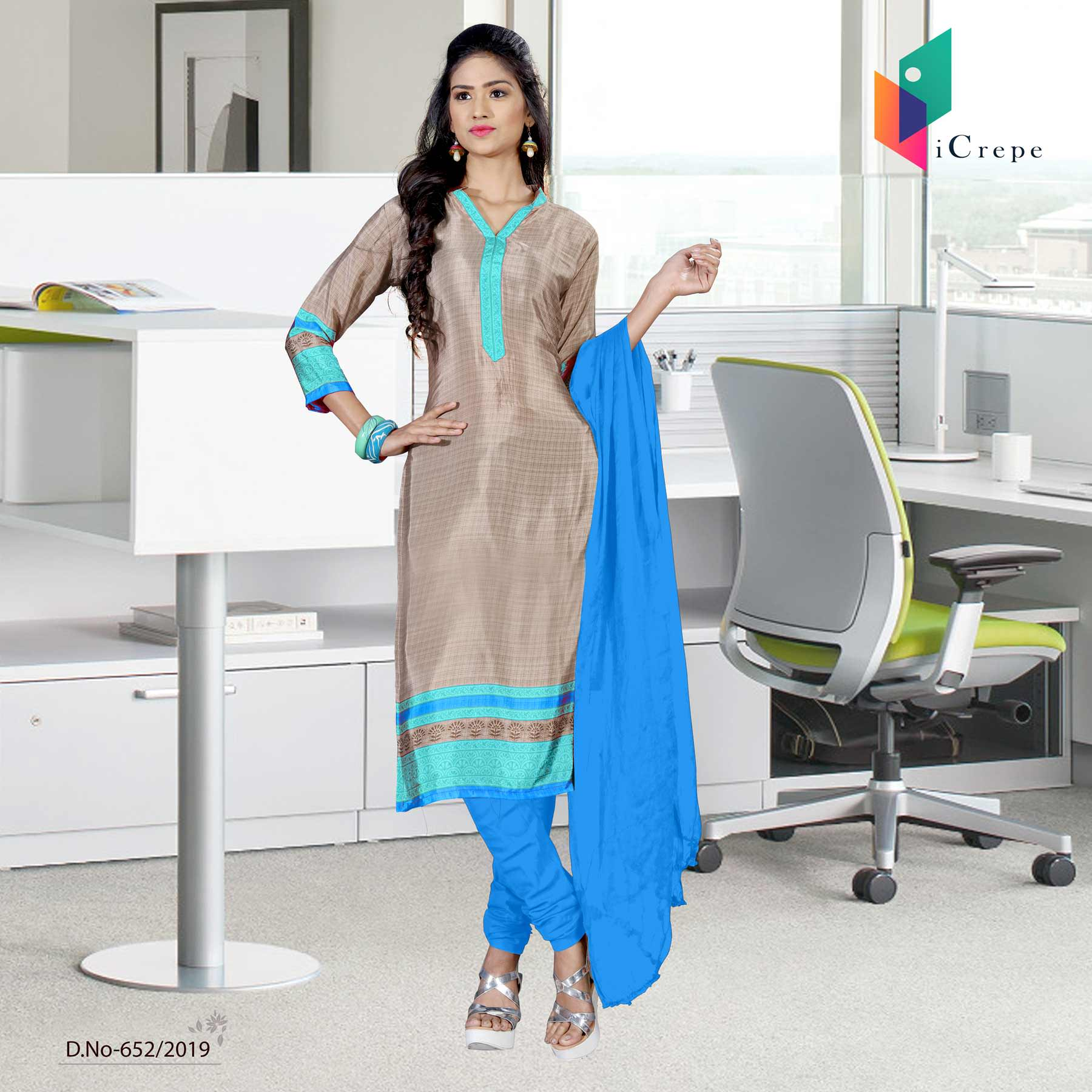 Beige and blue italian crepe silk institute uniform salwar kameez