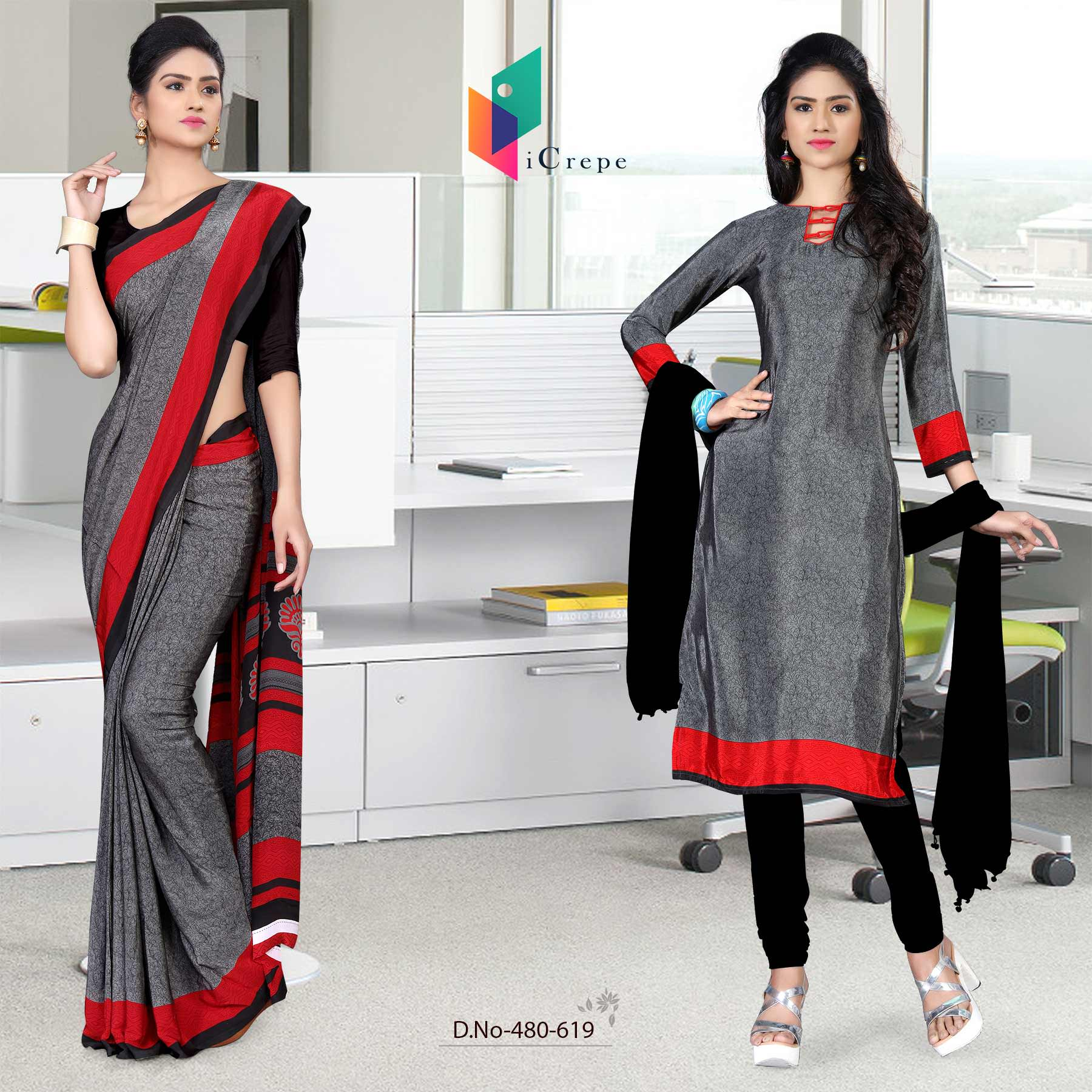 Grey and black italian crepe silk fancy uniform saree salwar combo