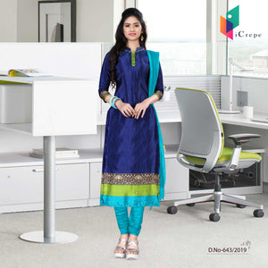 Dark blue and green italian crepe silk hospital uniform salwar kameez