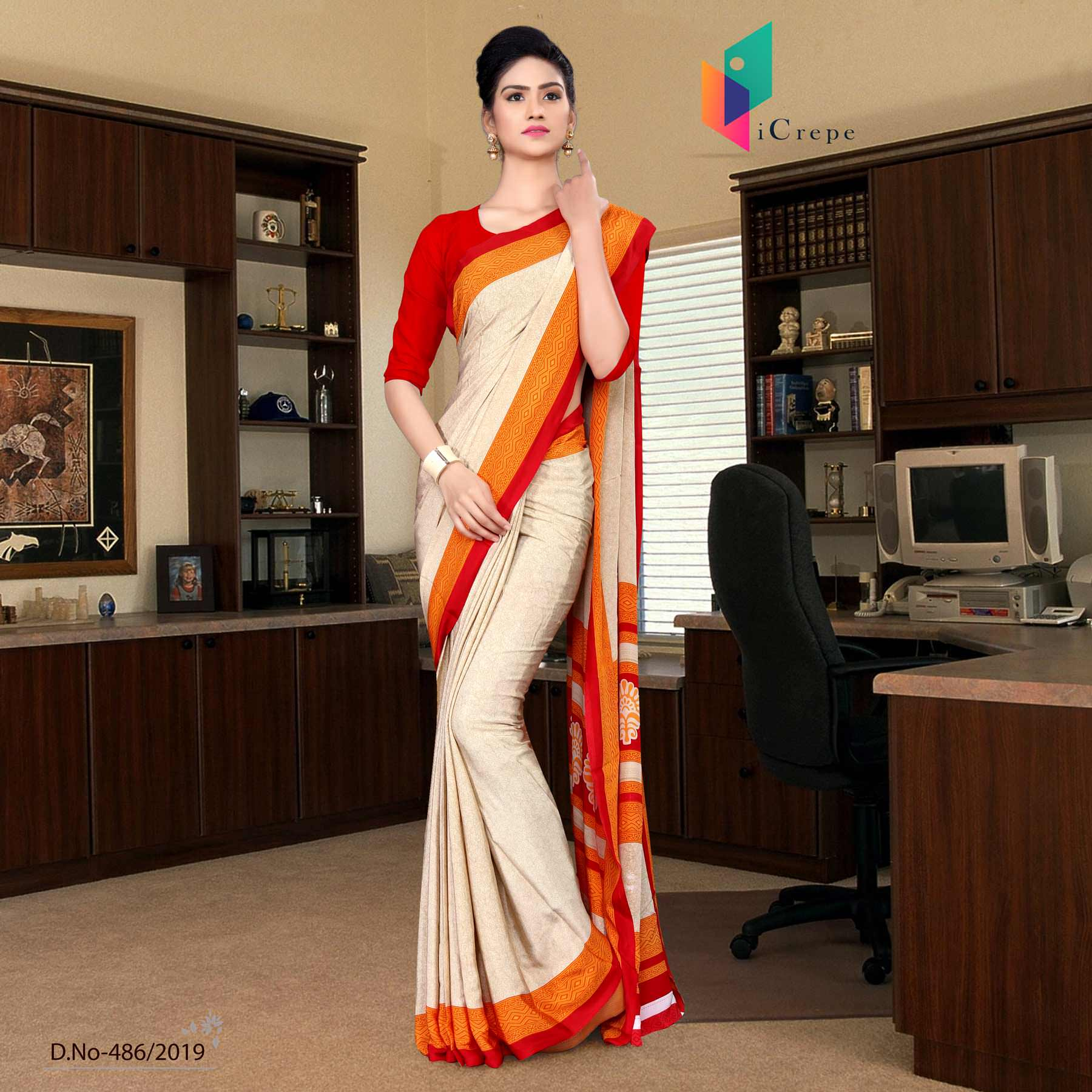 Off white and red italian crepe silk staff uniform saree