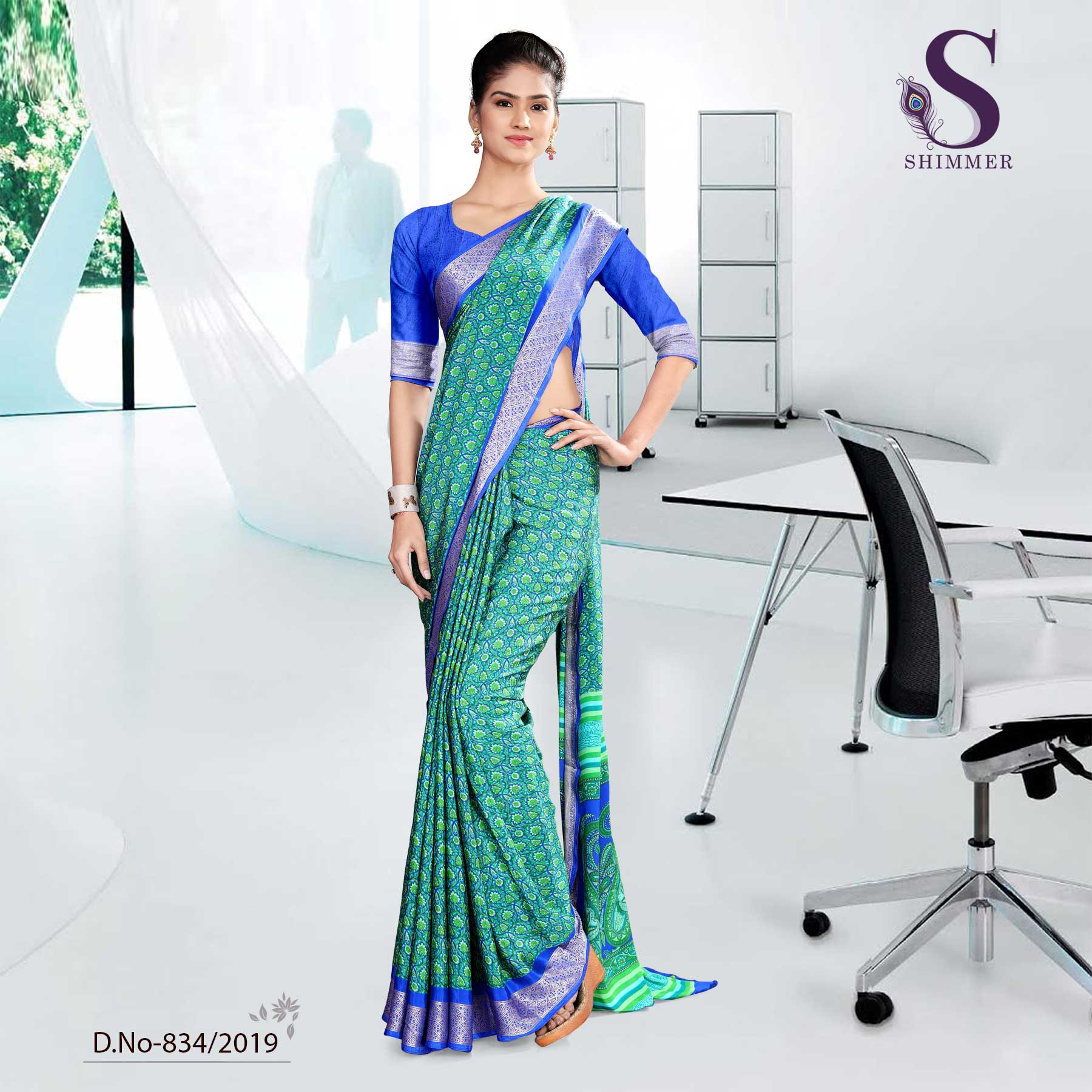 GREEN AND BLUE  INSTITUTE SHIMMER UNIFORM SAREES