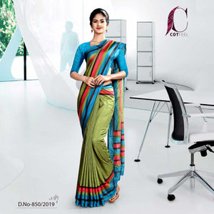 green and Blue tripura cotton hotel uniform saree