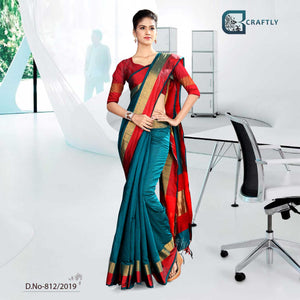GREEN AND RED WITH PINK COLOR  CRAFTLY COTTON CORPORATE UNIFORM SAREE