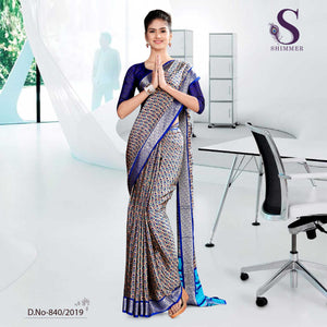 GREY AND BLUE SCHOOL  SHIMMER UNIFORM SAREES