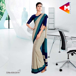 GREY AND BLUE  SCHOOL UNIFORM SAREE