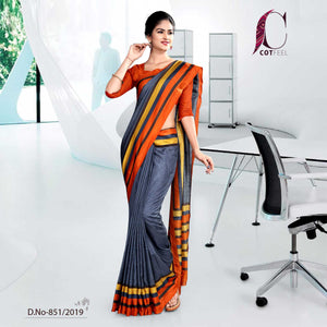 GREY AND ORANGE COTTON CORPORATE UNIFORM SAREE