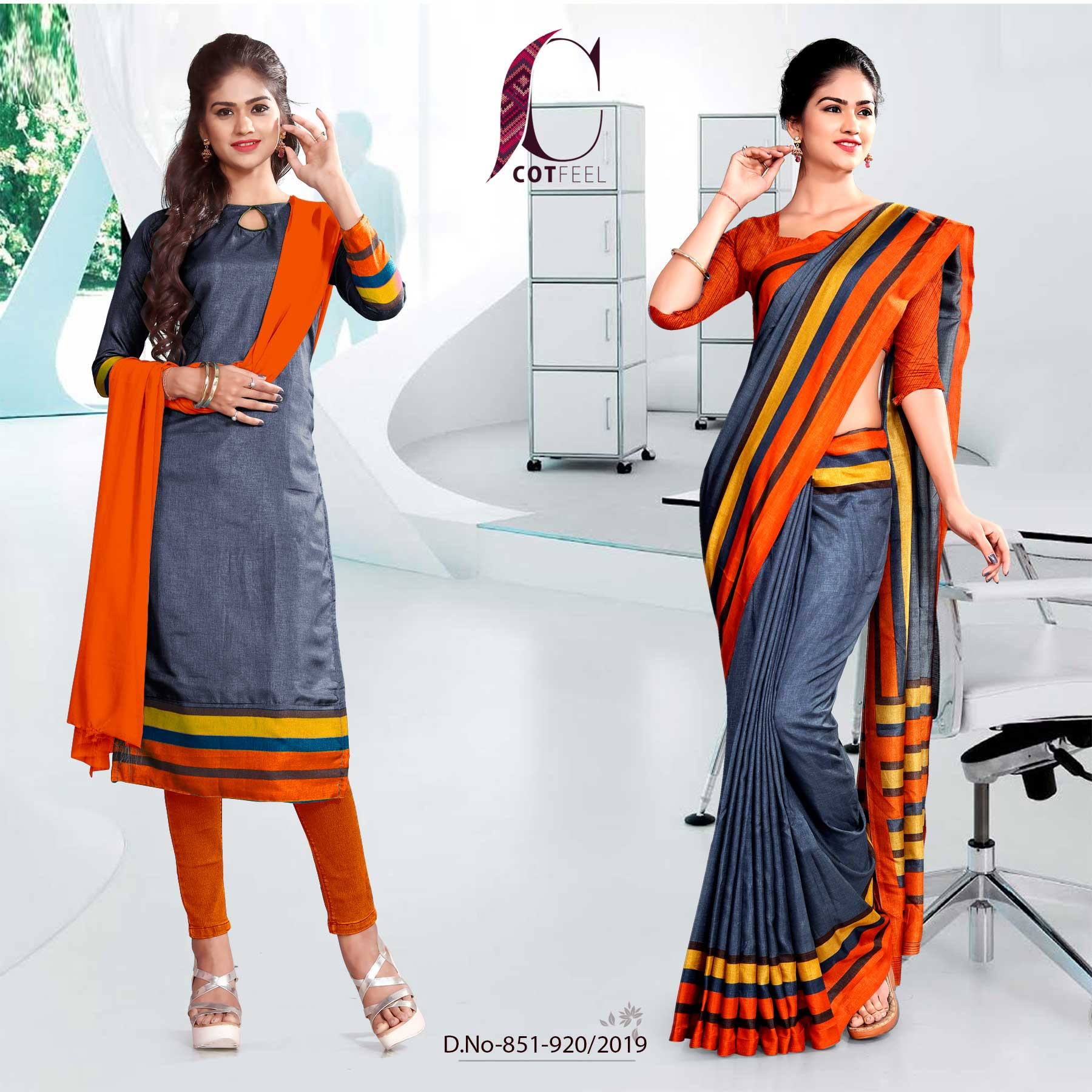 GREY AND ORANGE  FANCY CORPORATE UNIFORM SAREE SALWAR COMBO