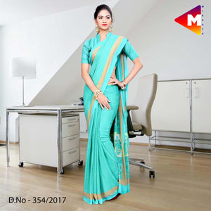 Sea blue Georgette Uniform Saree