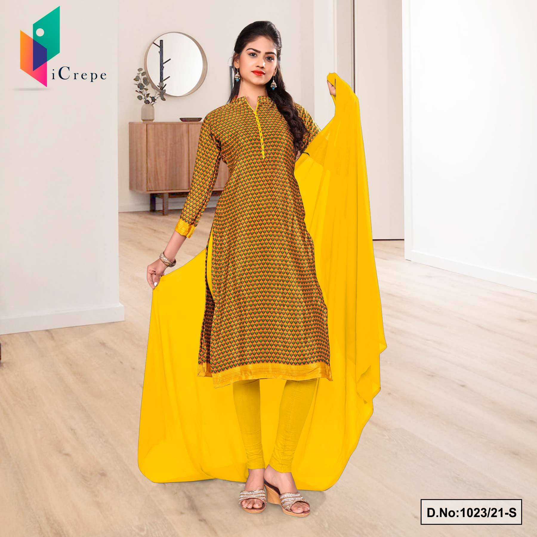 Gold Yellow Small Print Premium Italian Silk Crepe Chudidar for Institution Uniform Sarees