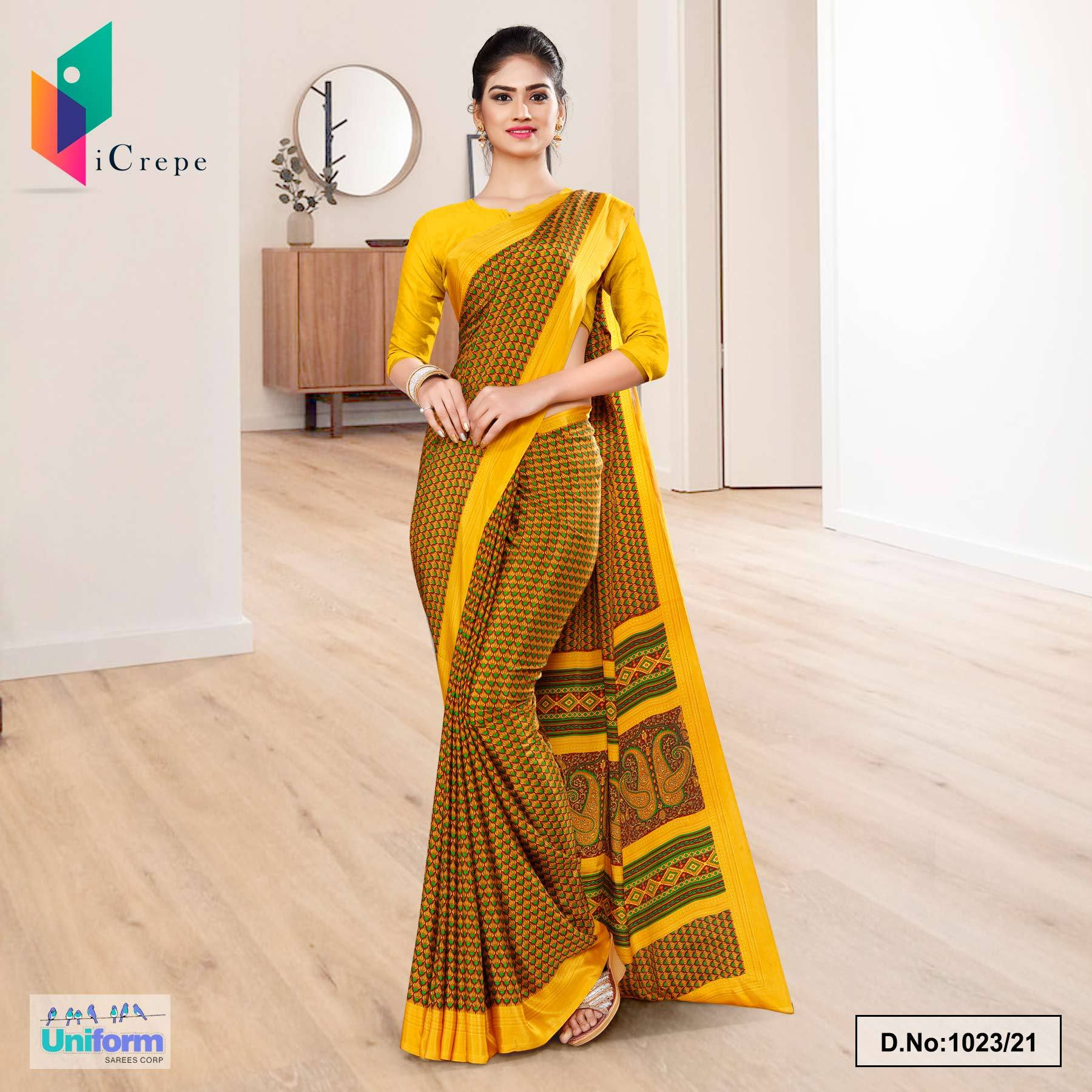 Gold Yellow Small Print Premium Italian Silk Crepe Saree for Institution Uniform Sarees