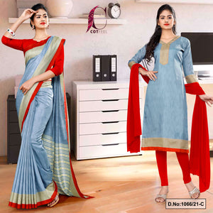 Gray Red Plain Border Premium Polycotton CotFeel Saree Chudi Combo for Workers Uniform Sarees 1066