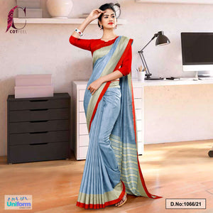 Gray Red Plain Border Premium Polycotton CotFeel Saree for Workers Uniform Sarees