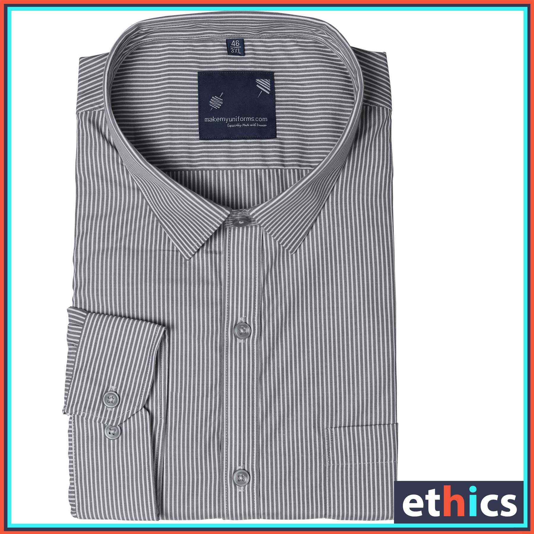 Gray Stripes Mens Formal Work Wear Uniform Shirts for Corporate Office