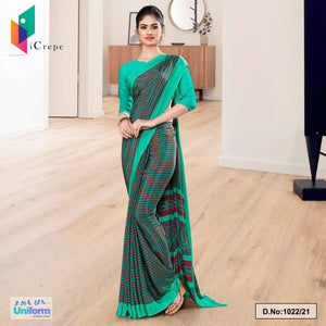Green Border Small Print Premium Italian Silk Crepe Saree for Hospital Uniform Sarees