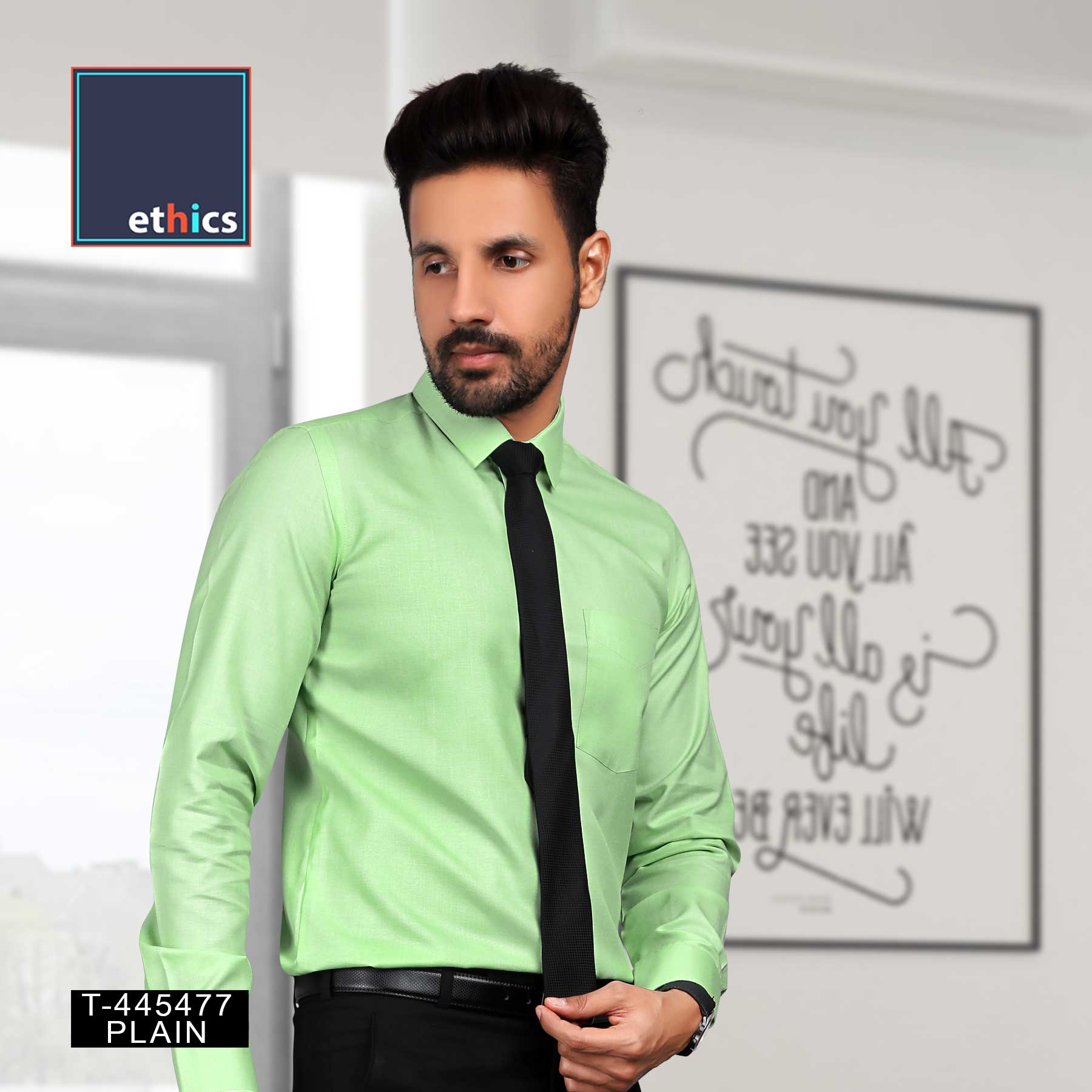 Green Solid Men's Ready Made Corporate Uniform Shirt for Formal Uniforms