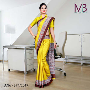 Brown and yellow Mulberry silk uniform saree
