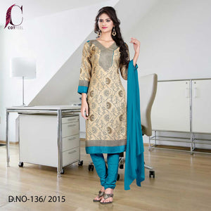 Peacock blue and beige uniform salwar kameez