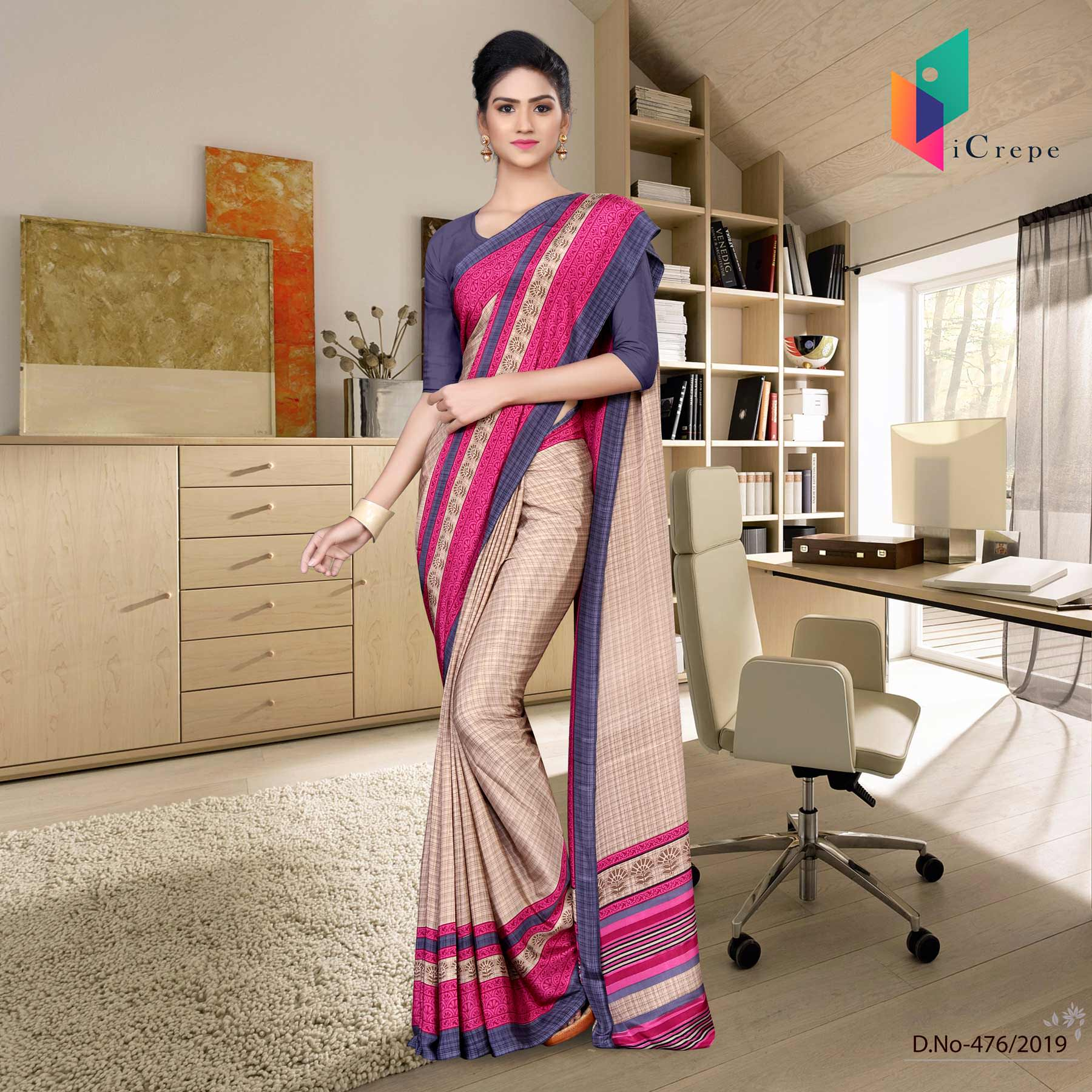 Beige and blue italian crepe silk showroom uniform saree