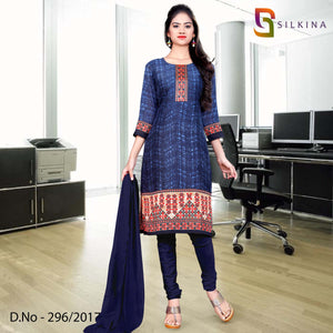 Blue Orange Silk Georgette Uniform Salwar Kameez