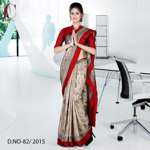 Beige with maroon border Tripura cotton uniform saree