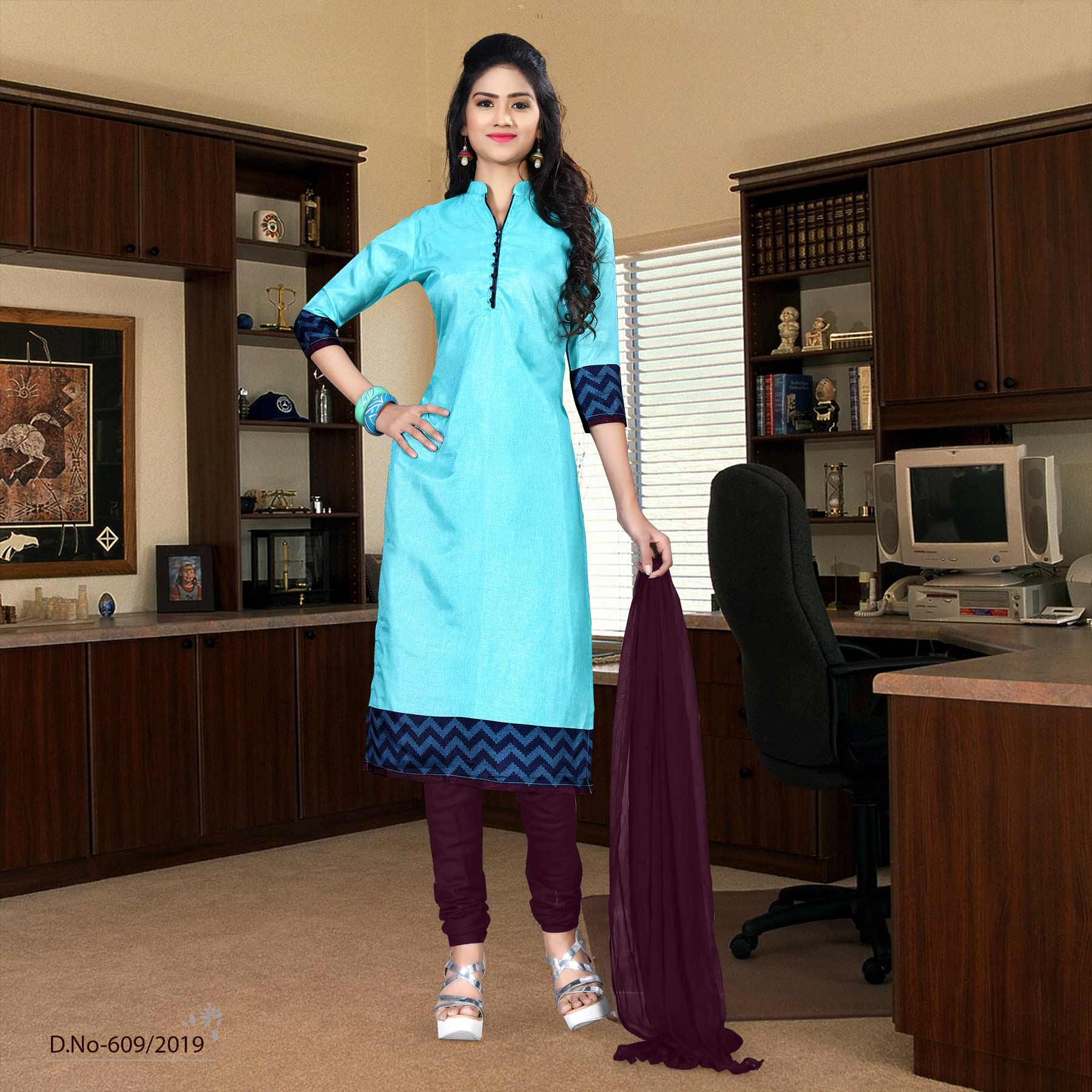 an image Turquoise with purple border tripura cotton simple uniform salwar kameez with product logo and sku number