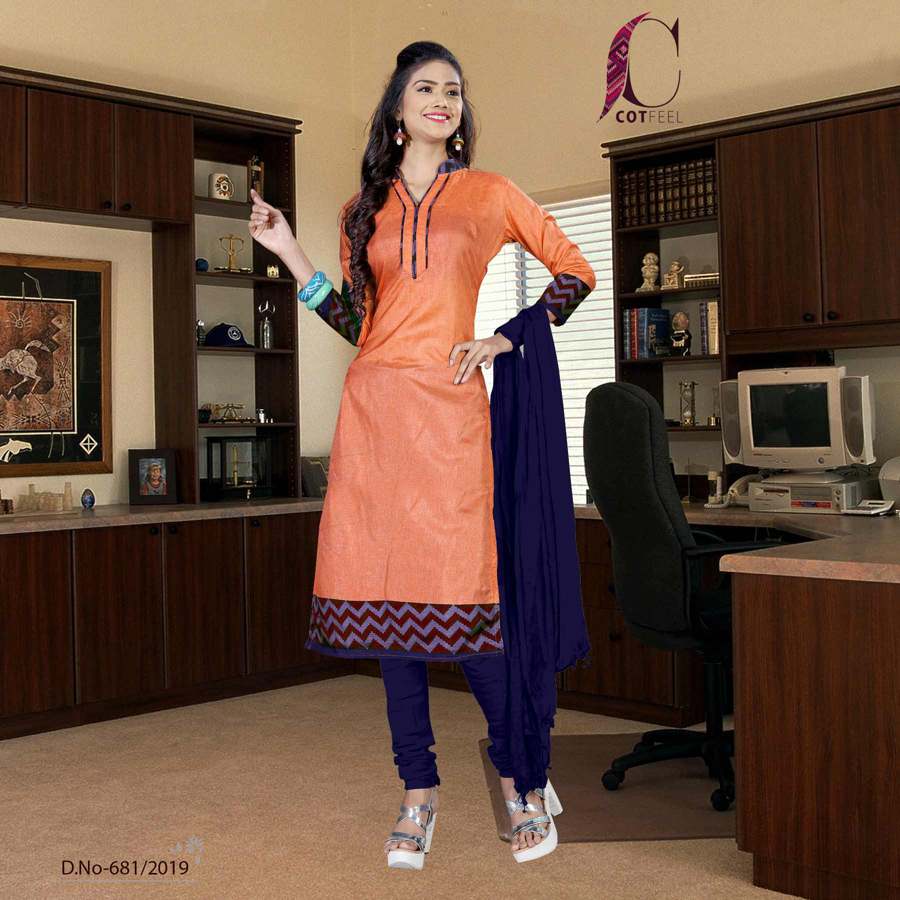 Orange with navy blue border tripura cotton hotel uniform salwar kameez