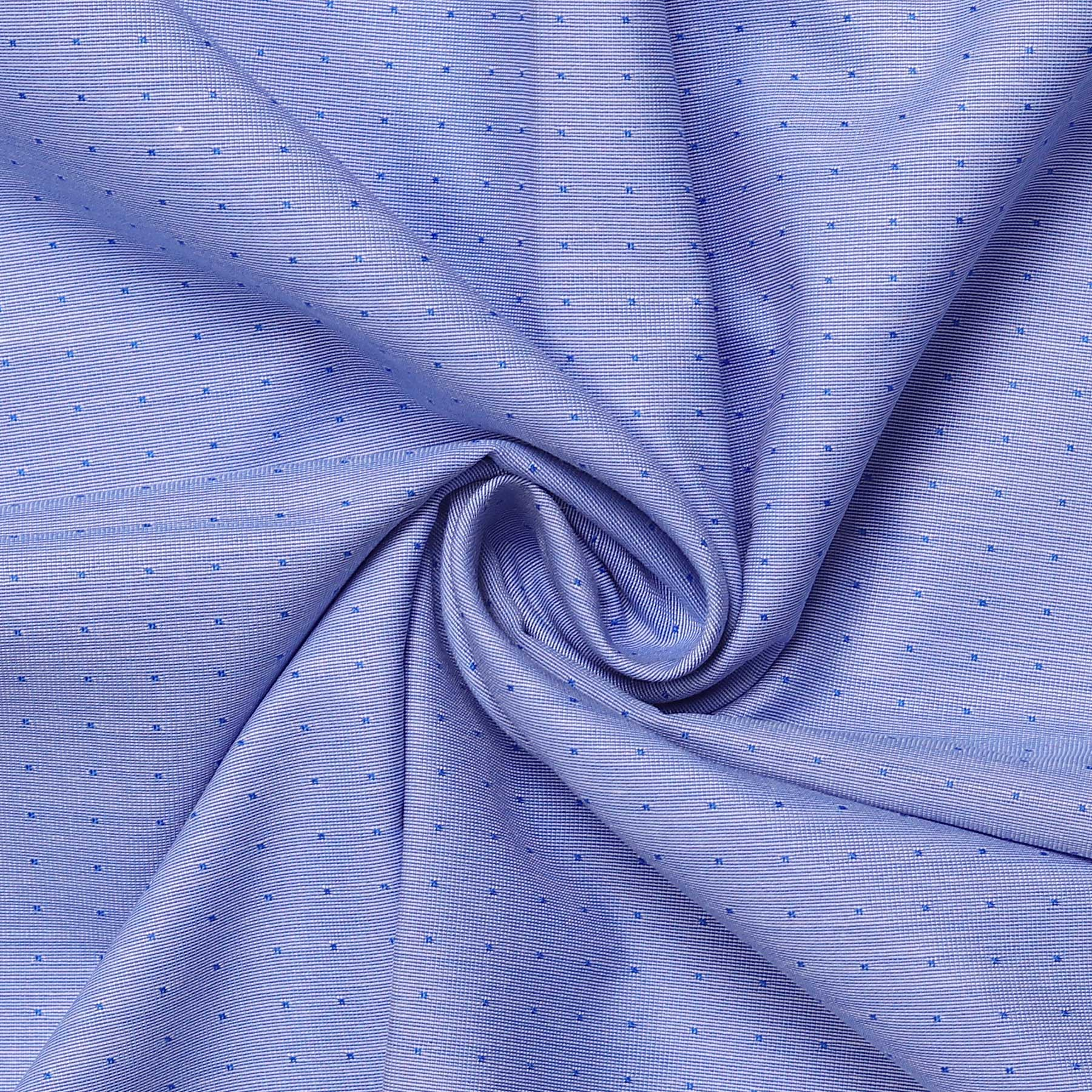 Dotted Blue Men's Cotton Unstitched Uniform Shirt Fabric for Corporate Office