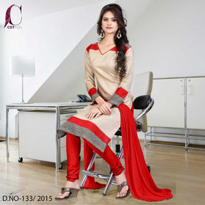 Red and beige uniform salwar kameez