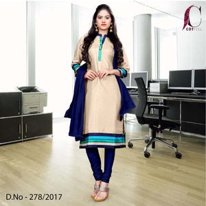 Beige with blue border Tripura Cotton Uniform Salwar Kameez