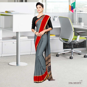 Grey and red italian crepe silk anganwadi uniform saree