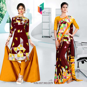 YELLOW AND RED ICREPE SILK INSTITUTE UNIFORM SAREE SALWAR COMBO