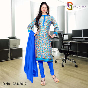Blue and beige Silk Georgette Uniform Salwar Kameez