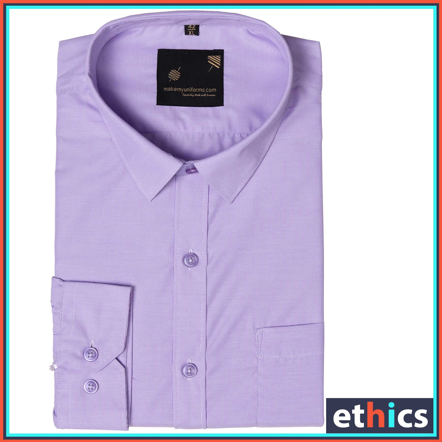 Lavender Micro Stripes Mens Formal Uniform Shirt for Corporate Office