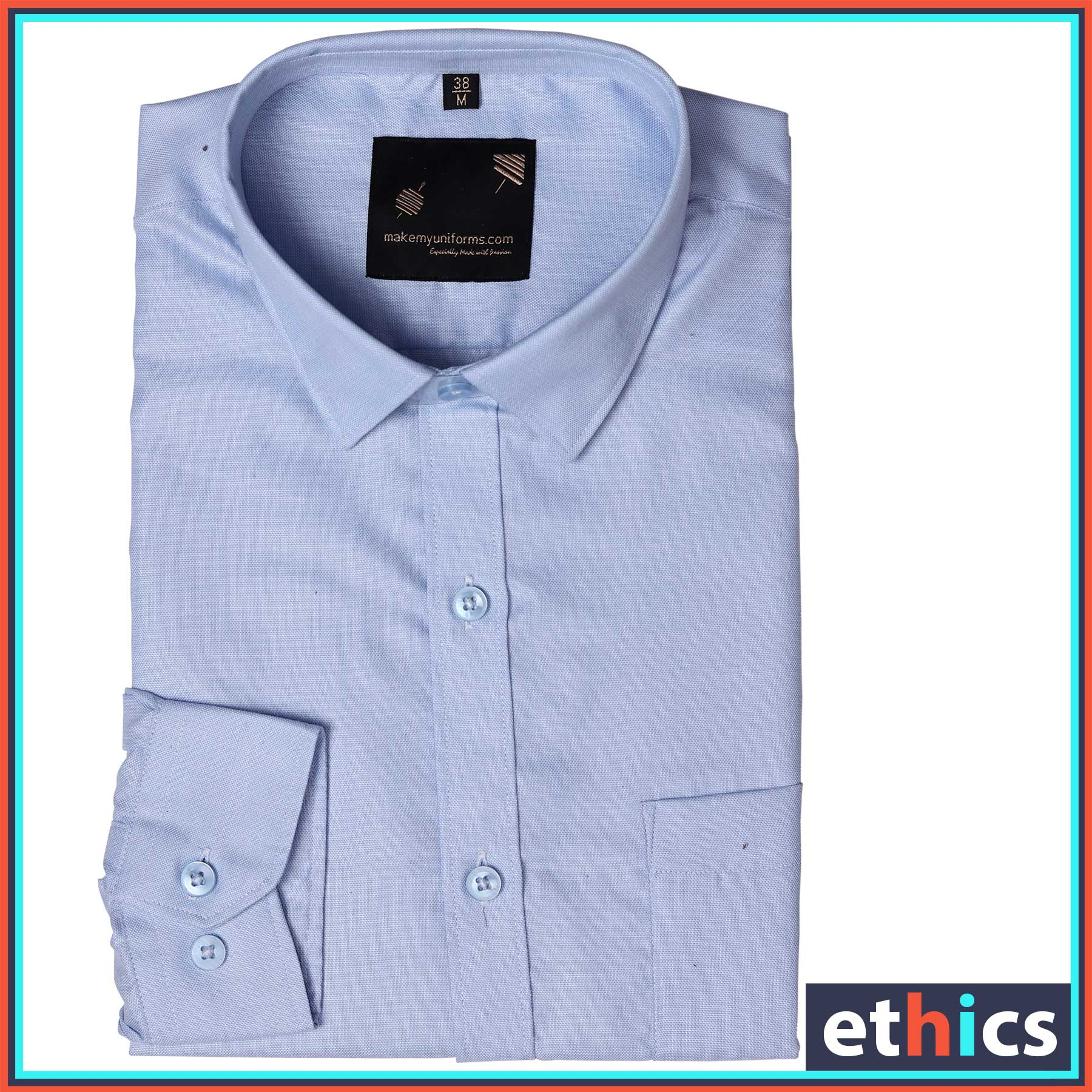 Light Blue Plain Corporate Uniforms Shirts for Office Staff