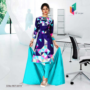 BLUE CREPE SILK CORPORATE UNIFORM SALWAR KAMEEZ