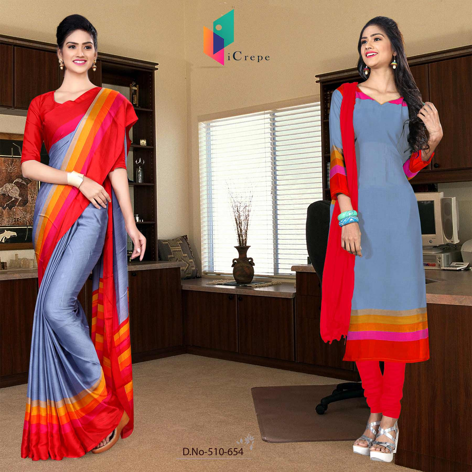 Light blue and red italian crepe silk college uniform saree salwar combo