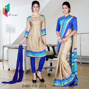 Beige and blue Italian crepe uniform saree salwar combo